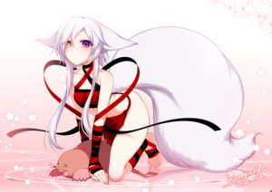 Rating: Safe Score: 41 Tags: animal animal_ears barefoot bicolored_eyes flowers konshin navel original reflection signed tail waifu2x white_hair User: BattlequeenYume