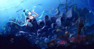 Rating: Safe Score: 103 Tags: animal aqua_eyes aqua_hair boat bubbles deep-sea_girl_(vocaloid) dress fish hatsune_miku long_hair ruins sombernight twintails underwater vocaloid water User: Flandre93