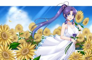 Rating: Safe Score: 23 Tags: blue_eyes blush bow dress flowers long_hair minakami_haruka petals ponytail purple_hair signed sister_princess summer_dress sunflower the-sinner twintails wristwear User: RyuZU