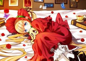 Rating: Safe Score: 72 Tags: bed blonde_hair blue_eyes book butterfly dress drink flowers hat kunkun long_hair ponytail rose rozen_maiden samizuban shinku User: C4R10Z123GT