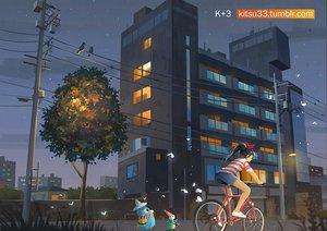 Rating: Safe Score: 30 Tags: animal bicycle bird black_hair building city kitsu+3 long_hair night original ponytail scenic shorts tree watermark User: RyuZU