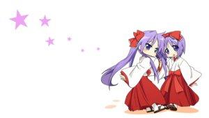 Rating: Safe Score: 47 Tags: 2girls blue_eyes bow hiiragi_kagami hiiragi_tsukasa japanese_clothes lucky_star miko purple_hair stars white User: Iceguy