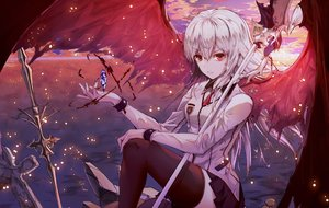 Rating: Safe Score: 70 Tags: blood long_hair neon_(hhs9444) original red_eyes school_uniform skirt thighhighs weapon white_hair wings User: BattlequeenYume