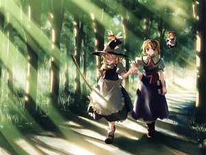 Rating: Safe Score: 72 Tags: alice_margatroid blonde_hair book boots doll dress forest grass hat hourai kirisame_marisa long_hair ribbons shanghai_doll short_hair touhou tree wings witch yellow_eyes yuuki_tatsuya User: Oyashiro-sama