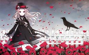 Rating: Safe Score: 129 Tags: animal bird bow dress flowers gloves hat lolita_fashion long_hair nardack original petals pink_eyes scan white_hair User: gnarf1975
