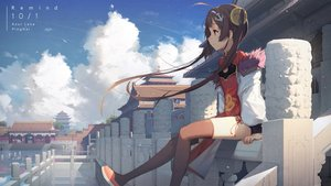 Rating: Safe Score: 80 Tags: anthropomorphism azur_lane brown_hair building chinese_clothes chinese_dress clouds dress long_hair ping_hai_(azur_lane) red_eyes reflection sky tagme_(artist) thighhighs twintails User: BattlequeenYume