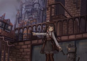Rating: Safe Score: 37 Tags: boots brown_hair building city dark hat industrial lolita_fashion long_hair necklace orange_eyes original pantyhose robot shirt stairs twintails usagino_suzu User: mattiasc02