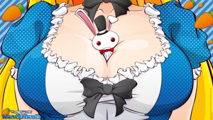 Rating: Safe Score: 128 Tags: alice_in_wonderland animal blonde_hair breasts cleavage dress hat long_hair rabbit red_eyes ribbons signed vector white_rabbit yf User: Yf
