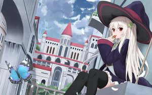 Rating: Safe Score: 83 Tags: building butterfly city clouds food fruit hat long_hair original red_eyes skirt sky staff strawberry thighhighs touhourh twintails white_hair witch_hat User: otaku_emmy