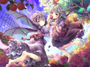 Rating: Safe Score: 58 Tags: apple blush dress flandre_scarlet flowers mikkii remilia_scarlet sky touhou tree vampire wings User: gnarf1975