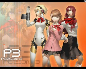 Rating: Safe Score: 44 Tags: aegis blonde_hair headphones kirijou_mitsuru persona persona_3 red_eyes red_hair skirt takeba_yukari wink User: Oyashiro-sama