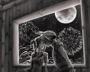 Rating: Safe Score: 63 Tags: aerith_gainsborough cloud_strife final_fantasy final_fantasy_vii long_hair monochrome moon night short_hair stars User: GreenHorn