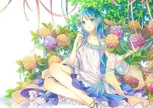 Rating: Safe Score: 34 Tags: aqua_eyes aqua_hair butterfly dress flowers kam_(kkying2008) leaves long_hair original User: BattlequeenYume