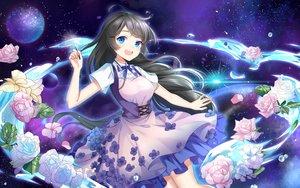 Rating: Safe Score: 42 Tags: aqua_eyes black_hair dress flowers long_hair original planet rose yuu_li_(glass) User: BattlequeenYume