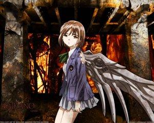 Rating: Safe Score: 3 Tags: brown_eyes brown_hair chise saikano saishuu_heiki_kanojo school_uniform wings User: Oyashiro-sama