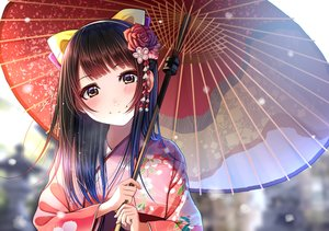 Rating: Safe Score: 85 Tags: blush brown_eyes brown_hair flowers headdress japanese_clothes kentaurosu kimono long_hair original umbrella User: RyuZU