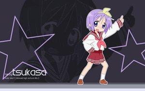 Rating: Safe Score: 3 Tags: blue_eyes blush hiiragi_tsukasa kneehighs lucky_star purple_hair school_uniform short_hair skirt User: 秀悟