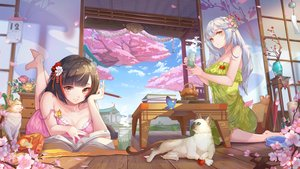 Rating: Safe Score: 42 Tags: 2girls animal barefoot book brown_eyes brown_hair building butterfly cat chengchenwang cherry_blossoms clouds dress drink flowers gray_hair long_hair no_bra original sky summer_dress tree User: BattlequeenYume