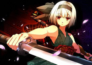 Rating: Safe Score: 129 Tags: flowers katana konpaku_youmu petals red_eyes shijimi-sama sword touhou weapon white_hair User: Maboroshi