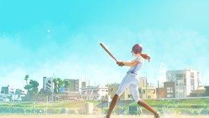 Rating: Safe Score: 46 Tags: ball baseball baseball_bat building city gloves hat kneehighs original ponytail signed sky sport uniform wayne_chan User: RyuZU