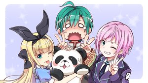 Rating: Safe Score: 12 Tags: animal bear blonde_hair blush bow chinese_clothes fujita_758634 green_eyes green_hair headband hug long_hair mononobe_alice nijisanji panda purple_hair ryuushen short_hair suit tears tie wink yuuhi_riri User: otaku_emmy