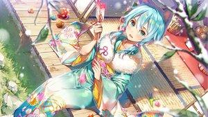 Rating: Safe Score: 65 Tags: animal_ears aqua_eyes aqua_hair ball blush dsmile grass japanese_clothes kimono original twintails User: BattlequeenYume