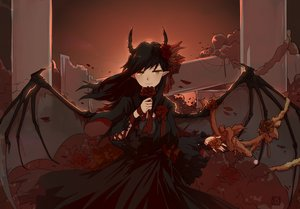 Rating: Safe Score: 35 Tags: black_hair demon dress flowers goth-loli horns lolita_fashion long_hair original pointed_ears rose ruins tagme_(artist) wings yellow_eyes User: luckyluna