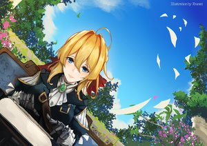 Rating: Safe Score: 30 Tags: blonde_hair blue_eyes flowers ponytail tagme_(artist) techgirl tree violet_evergarden violet_evergarden_(character) User: BattlequeenYume