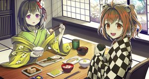 Rating: Safe Score: 22 Tags: 2girls bell black_hair blush brown_eyes brown_hair drink food hieda_no_akyuu japanese_clothes jchoy kimono motoori_kosuzu purple_eyes short_hair touhou twintails User: otaku_emmy