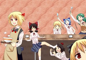 Rating: Safe Score: 11 Tags: apron black_hair blonde_hair blue_eyes blue_hair blush braids cirno green_hair group hakurei_reimu hat kirisame_marisa kochiya_sanae kurodani_yamame long_hair red_eyes ribbons rumia school_uniform shameimaru_aya short_hair skirt touhou yellow_eyes User: Tensa
