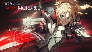 Rating: Safe Score: 70 Tags: armor blonde_hair braids fate/apocrypha fate/grand_order fate_(series) gloves green_eyes madyy mordred ponytail short_hair sword weapon User: RyuZU