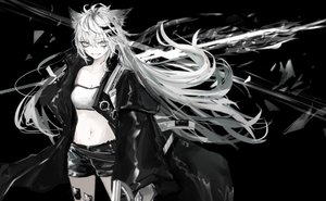 Rating: Safe Score: 55 Tags: aliasing arknights black gray_eyes lappland_(arknights) long_hair monochrome naruwe navel shorts white_hair User: RyuZU