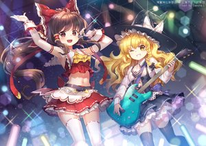 Rating: Safe Score: 30 Tags: 2girls blonde_hair blush bow brown_eyes brown_hair capura_lin elbow_gloves gloves guitar hakurei_reimu hat instrument kirisame_marisa long_hair microphone navel ponytail thighhighs touhou water wink witch_hat zettai_ryouiki User: RyuZU