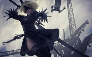 Rating: Safe Score: 162 Tags: blindfold elbow_gloves gloves gray_hair nier nier:_automata pod_(nier:_automata) short_hair sword thighhighs weapon wlop yorha_unit_no._2_type_b User: BattlequeenYume