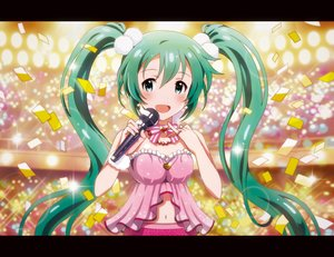 Rating: Safe Score: 64 Tags: aqua_hair blue_eyes blush chocolat hatsune_miku long_hair microphone navel necklace twintails vocaloid User: FormX