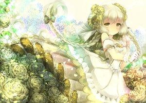 Rating: Safe Score: 90 Tags: braids dress flowers gloves horns long_hair original rose yumeichigo_alice User: FormX