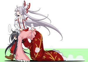 Rating: Safe Score: 50 Tags: 2girls black_eyes black_hair eichi_yuu fujiwara_no_mokou gray_hair houraisan_kaguya long_hair red_eyes touhou User: RyuZU