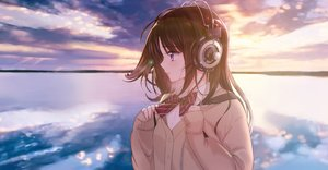 Rating: Safe Score: 33 Tags: bow brown_hair headphones original purple_eyes seifuku sky tsukigami_runa water User: FormX