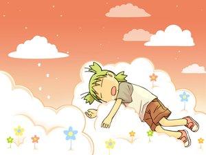 Rating: Safe Score: 10 Tags: koiwai_yotsuba orange sleeping sunset yotsubato! User: Oyashiro-sama