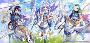 Rating: Safe Score: 18 Tags: animal aqua_eyes armor cape farina_(fire_emblem) fiora_(fire_emblem) fire_emblem florina_(fire_emblem) green_eyes green_hair horns horse long_hair matsurikay pegasus purple_eyes purple_hair spear weapon wings User: RyuZU