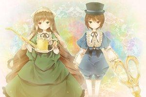 Rating: Safe Score: 31 Tags: 2girls bicolored_eyes michii_yuuki rozen_maiden souseiseki suiseiseki twins User: HawthorneKitty
