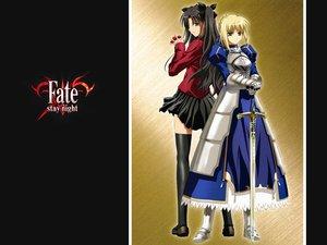 Rating: Safe Score: 37 Tags: armor black_hair blonde_hair fate_(series) fate/stay_night green_eyes saber sword tohsaka_rin twintails weapon User: jjjjjhhhhh