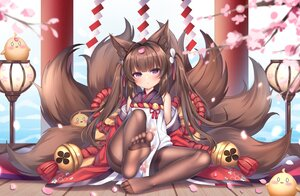 Rating: Safe Score: 66 Tags: amagi-chan_(azur_lane) animal animal_ears anthropomorphism azur_lane bird brown_hair cherry_blossoms chuor_(chuochuoi) flowers foxgirl loli long_hair manjuu_(azur_lane) multiple_tails pantyhose purple_eyes tail User: BattlequeenYume