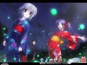 Rating: Safe Score: 23 Tags: blue_hair gray_hair green_eyes japanese_clothes kimono long_hair minori narukaze_minamo red_eyes tsukishiro_hikari twintails wind:_a_breath_of_heart User: Oyashiro-sama