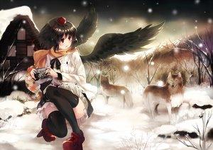 Rating: Safe Score: 79 Tags: animal black_hair camera hat ken_(coffee_michikusa) red_eyes scarf shameimaru_aya snow thighhighs touhou wings winter wolf User: FormX