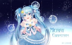 Rating: Safe Score: 67 Tags: aqua_eyes aqua_hair bow christmas dress hatsune_miku long_hair shangguan_feiying twintails vocaloid watermark yuki_miku User: BattlequeenYume