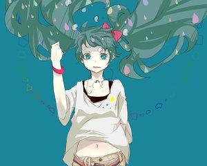 Rating: Safe Score: 43 Tags: aqua_eyes aqua_hair hatsune_miku necklace twintails vocaloid water User: HawthorneKitty
