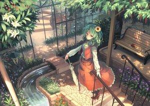 Rating: Safe Score: 113 Tags: book dress flowers green_hair kazami_yuuka orita_enpitsu red_eyes stairs touhou umbrella water User: FormX