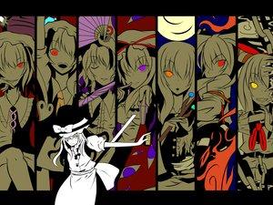 Rating: Safe Score: 26 Tags: fan flandre_scarlet fujiwara_no_mokou houraisan_kaguya ibuki_suika kirisame_marisa orange_eyes polychromatic purple_eyes red_eyes remilia_scarlet saigyouji_yuyuko touhou vampire witch yakumo_yukari yellow_eyes User: Tensa