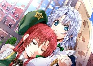 Rating: Safe Score: 18 Tags: 2girls aliasing aqua_eyes bow braids gray_hair hat headdress hong_meiling ichikawa_ryuunosuke izayoi_sakuya red_hair sleeping touhou User: RyuZU